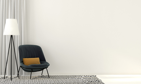 3D illustration. Interior with a blue armchair and floor lamp