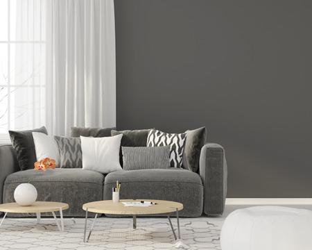 3 D イラスト。グレーのソファのあるリビング ルームのモダンなインテリア