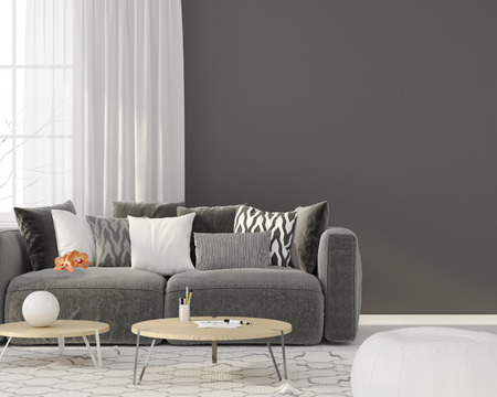 3D illustration. Modern interior of the living room with a gray sofa Standard-Bild