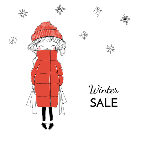 Vector illustration. Girl with purchases in a red down puffy jacket