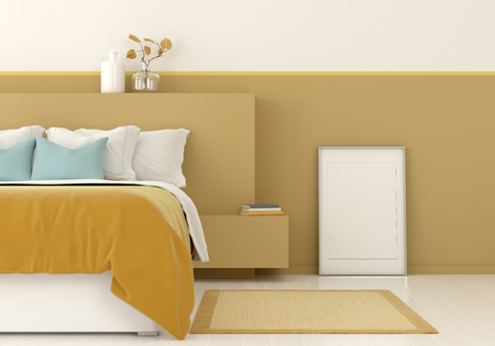 3D illustration. Interior mocap of a yellow bedroom with frame. Frame for picture size 60x90 cm and 50x70 cm with mount