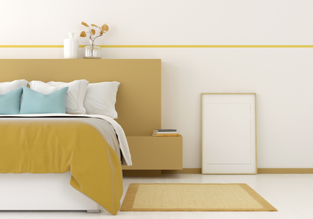 3D illustration. Interior mocap of a bedroom with frame and yellow strip. Frame for picture size 60x90 cm and 50x70 cm with mount