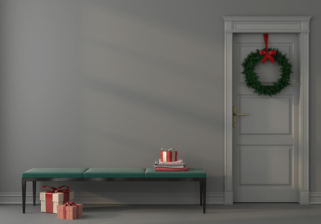 3D illustration. Festive interior with an elegant emerald green bench near the gray wall