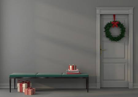 3D illustration. Festive interior with an elegant emerald green bench near the gray wall Foto de archivo - 122114390