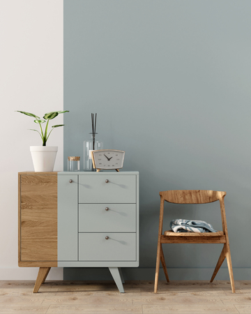 3D illustration. Stylish interior with a vertical blue stripe on the wall and on a wooden chest of drawers