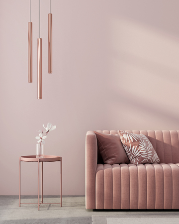 Monochrome interior in pink color with a sofa, a table, a chandelier of pink gold and a white flower  3D illustration, 3d render 스톡 콘텐츠