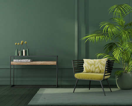 Green interior with a yellow armchair, a minimalist table, green parquet and a tropical plant   3D illustration, 3d render