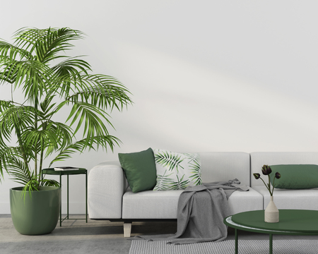 Interior of living room with white sofa, green pillows, green coffee table, tropical plant and concrete floor   3D illustration, 3d render Banco de Imagens