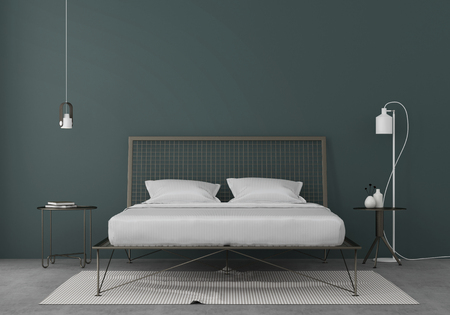 Bedroom interior with a metal bed, tables and white lamps against a blue wall / 3D illustration, 3d render Stockfoto
