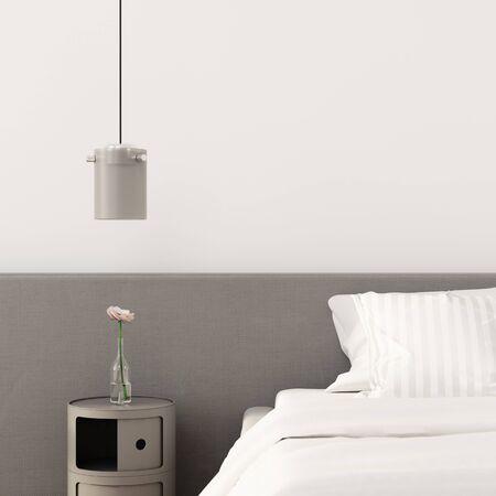Bedroom interior with gray bedside table and matt chandelier  3D illustration, 3d render