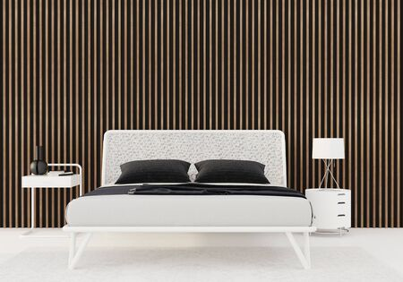bedroom interior with white bed, bed side tables and wooden slats on the wall  3D illustration, 3d render