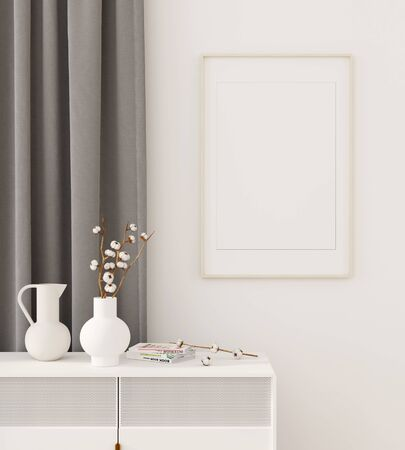 Mock up interior with a white chest of drawers, gray curtain, vases and a frame on the wall  3D illustration, 3d render Stok Fotoğraf