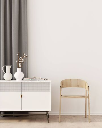 Interior with a white chest of drawers, gray curtain, vases and wooden chair  3D illustration, 3d render 版權商用圖片