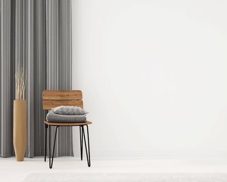 Interior with wooden chair, gray curtains and terracotta-colored clay vase  3D illustration, 3d render