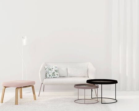 Interior of a white living room in a modern style with a white sofa, a pink pouf, metal-covered round tables and a floor lamp  3D illustration, 3d render Stok Fotoğraf