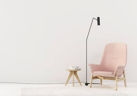 Interior with a pink armchair, a black floor lamp and a wooden table with books against a white wall  3D illustration, 3d render