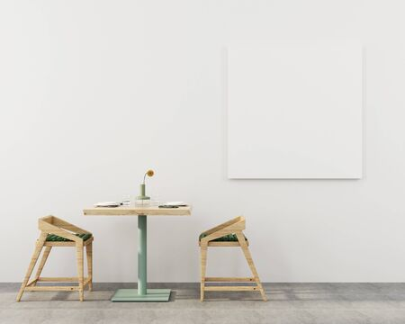 Interior of the cafe or dining room with a wooden table, two chairs against a white wall with a poster  3D illustration, 3d render Stok Fotoğraf