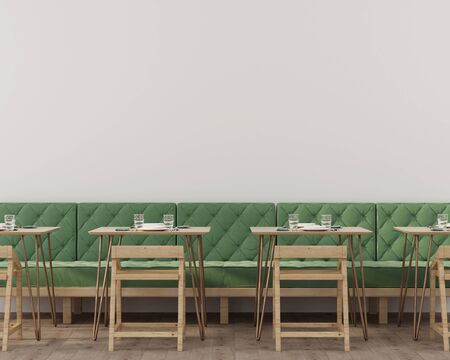 Interior of a cafe or restaurant with a soft green sofa, tables on copper legs and wooden chairs  3D illustration, 3d render Stok Fotoğraf