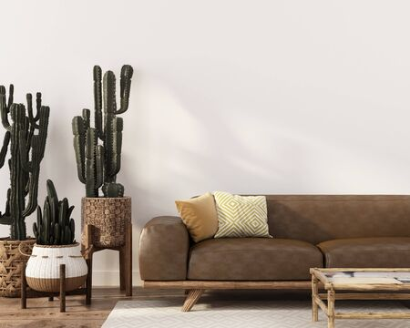Boho-style interior with stylish leather sofa, rattan table and wicker pots with cacti  3D illustration, 3d render