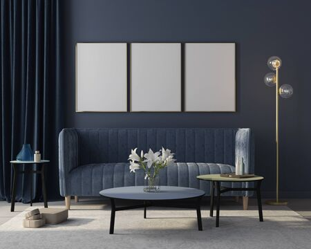 Mock up Modern interior of the living room in monochrome blue with  a stylish velvet sofa, a beige carpet, a golden floor lamp and three posters in golden frames  3D illustration, 3d render