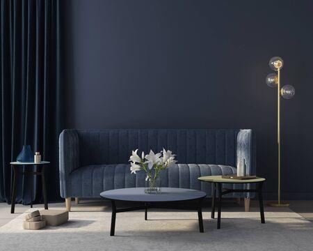 Modern interior of the living room in monochrome blue with  a stylish velvet sofa, a beige carpet, a golden floor lamp  3D illustration, 3d render 版權商用圖片