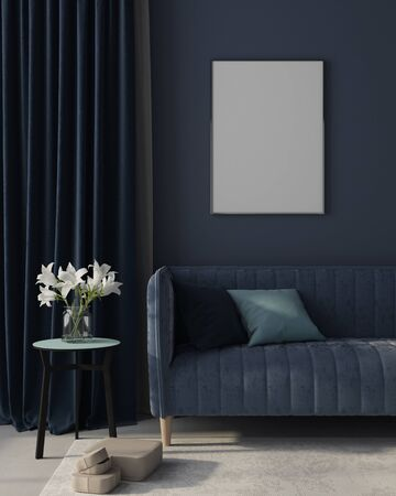 Mock up of modern interior of the living room in monochrome blue with  a stylish velvet sofa, a beige carpet, a golden floor lamp and poster in golden frame  3D illustration, 3d render