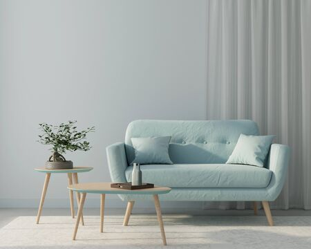 Modern interior of a living room with a blue sofa and a stylish wooden tables on a background of blue walls and curtains  3D illustration, 3d render