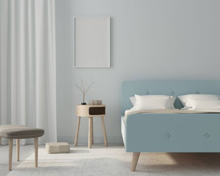 Mock up modern bedroom interior in a light blue color with wooden furniture and a poster in a white frame  3D illustration, 3d render Stok Fotoğraf