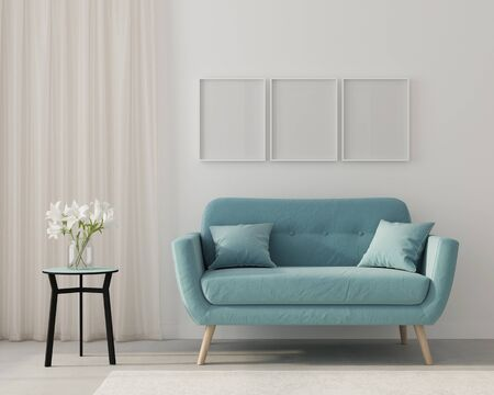 Mock up Modern interior of a living room with a blue sofa, a stylish wooden tables and three posters on a background of blue walls and curtains  3D illustration, 3d render Stok Fotoğraf