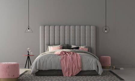Interior of the bedroom where there are a large gray bed with a large soft headboard, stylish soft poufs and a table in pink colors / 3D illustration3d render Stock Photo