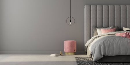 Interior of the bedroom where there are a large gray bed with a large soft headboard, stylish soft pouf  3D illustration3d render 版權商用圖片
