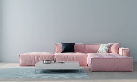 Minimalism style living room interior with pink sofa and white coffee table against a light blue wall / 3D illustration3d render Stock Illustration - 131856761