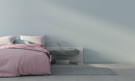 Minimalism style bedroom interior with pink bed against a light blue wall   3D illustration3d render