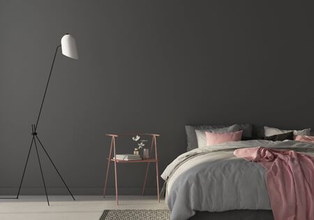 Interior of the bedroom where there are a large gray bed, stylish chair and floor lamp  3D illustration3d render 版權商用圖片