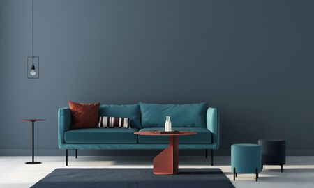 Interior of the living room in blue with a sofa, two pouffes and terracotta tables and  pillows  3D illustration3d render 版權商用圖片