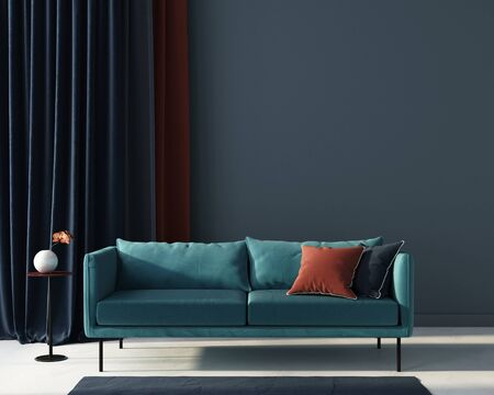 Interior of the living room in blue with a sofa, table and terracotta pillow  3D illustration, 3d render 版權商用圖片