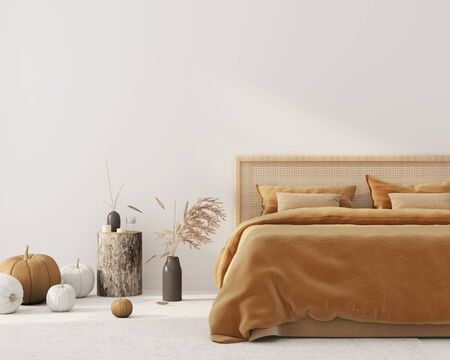 Bedroom interior with King size bed with autumn colored bedding and a wicker rattan headboard, a bedside table made of stump and autumn pumpkin decorations. Interior decoration for Halloween 3D illustration, 3d render