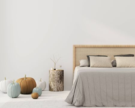 Bedroom interior with a beautiful bed with a wicker rattan headboard, a bedside table made of stump and autumn pumpkin decorations. Interior decoration for Halloween 3D illustration, 3d render