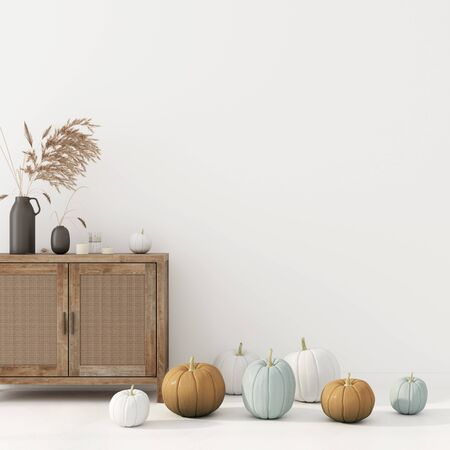 Interior decoration with wicker rattan chest of drawer, vase with wheat spikes and pumpkins. Interior decoration for Halloween 3D illustration, 3d render
