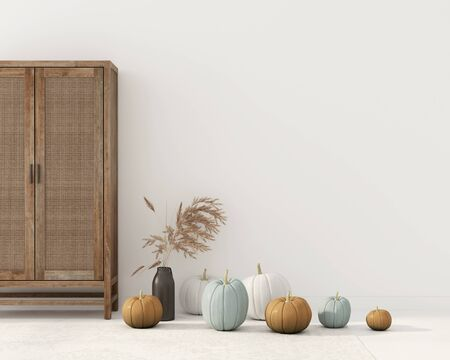 Interior decoration with wicker rattan cupboard, vase with wheat spikes and pumpkins. Interior decoration for Halloween  3D illustration, 3d render