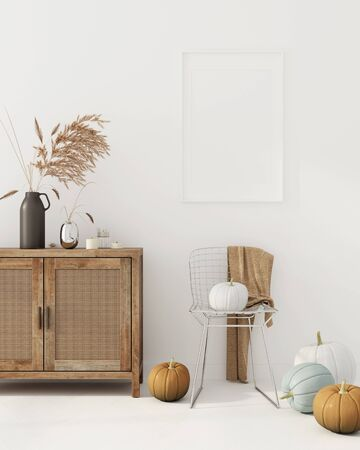 Interior decoration with wicker rattan chest of drawer, metal chair, vase with wheat spikes and pumpkins. Interior decoration for Halloween  3D illustration, 3d render Фото со стока