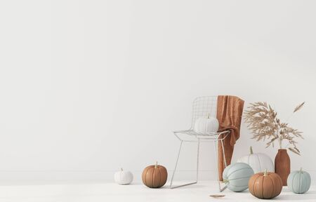 Interior decoration with metal chair, vase with wheat spikes and pumpkins. Interior decoration for Halloween  3D illustration, 3d render