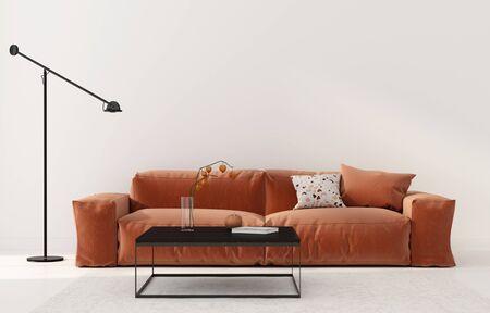 Living room interior with bright terracotta sofa, black metal table and floor lamp. Autumn interior decoration  3D illustration, 3d render