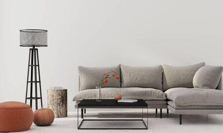 Intérieur du salon avec canapé gris, pouf en terre cuite, souche, table en métal noir, lampadaire et citrouille. Décoration d'intérieur d'automne / illustration 3D, rendu 3d