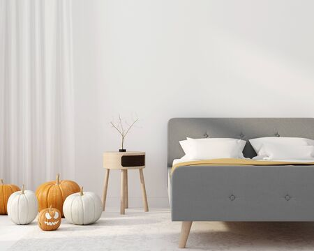 Bedroom interior with autumn atmosphere. Interior decoration for Halloween  3D illustration, 3d render