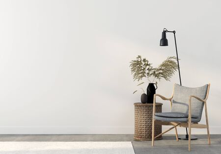 Gray armchair with a wooden table and a vase of wheat on a white wall background. Autumn interior decoration  3D illustration, 3d render Фото со стока