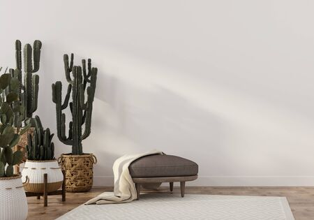Boho-style interior with stylish leather pouf and wicker pots with cacti  3D illustration, 3d render