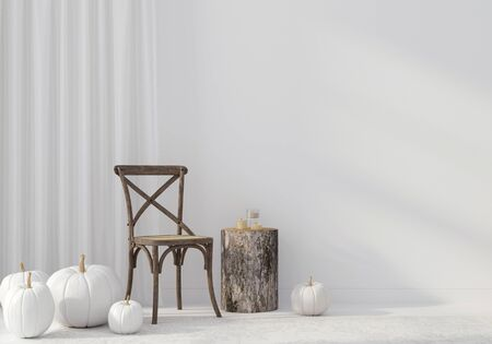 Autumn interior with vintage wicker chair and white pumpkins on a white wall background. Decoration for Halloween  3D illustration, 3d render