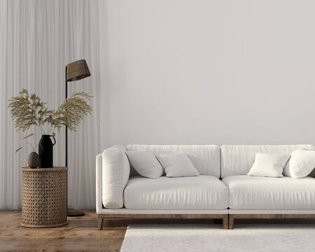Ethnic style living room with white sofa, wooden table and floor lamp. Autumn interior decoration  3D illustration, 3d render 版權商用圖片