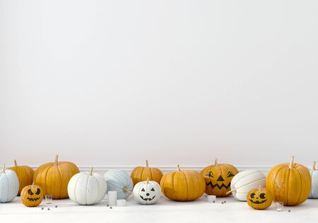 Pumpkins of different colors with funny faces on a white wall background. Decoration for Halloween  3D illustration, 3d render Фото со стока